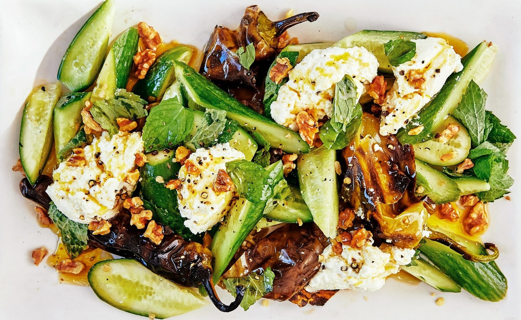 Charred Peppers Salad With Lemon Ricotta and Cucumbers